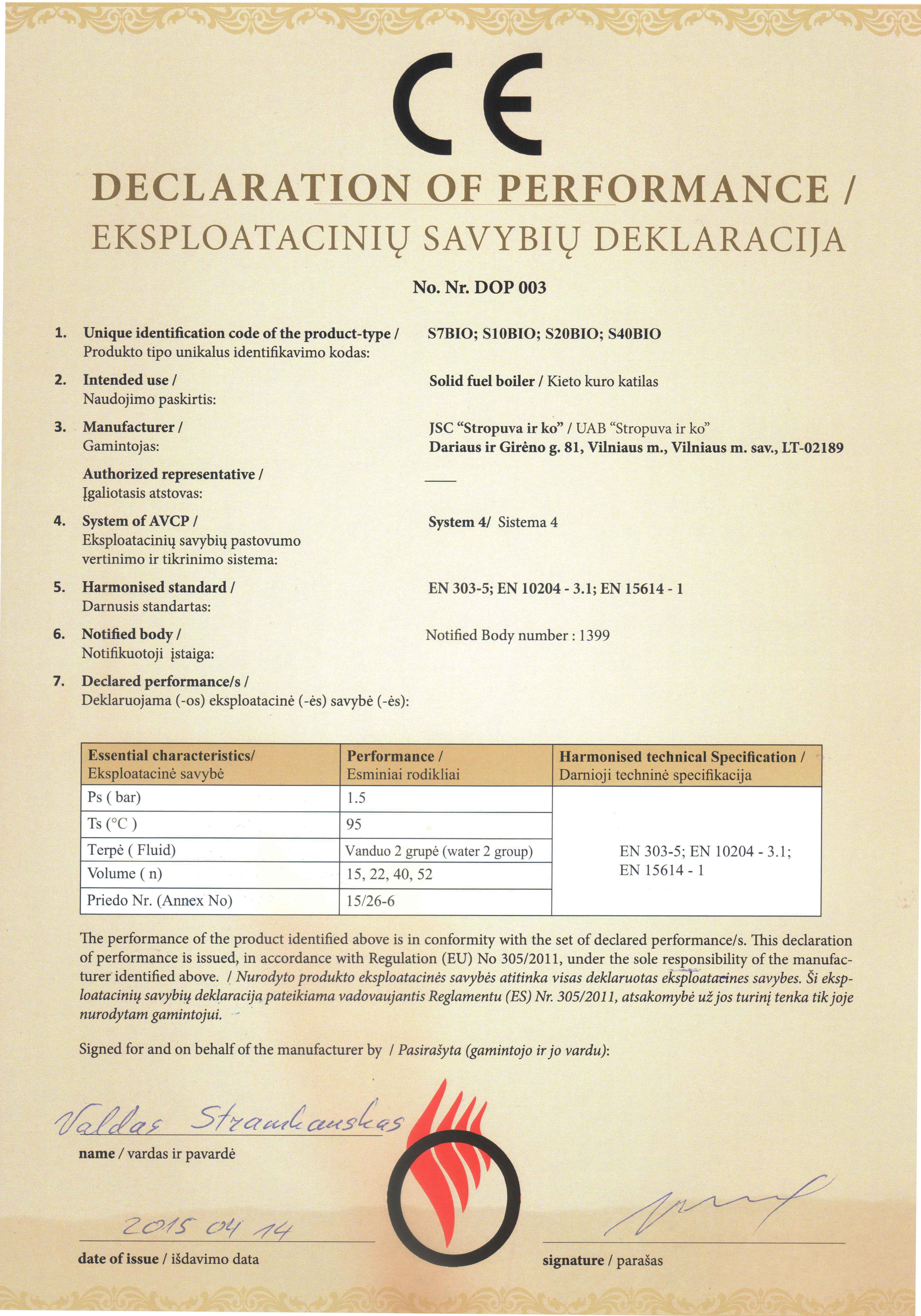 Eksplotaciniu savybiu deklaracija Bio katilai1