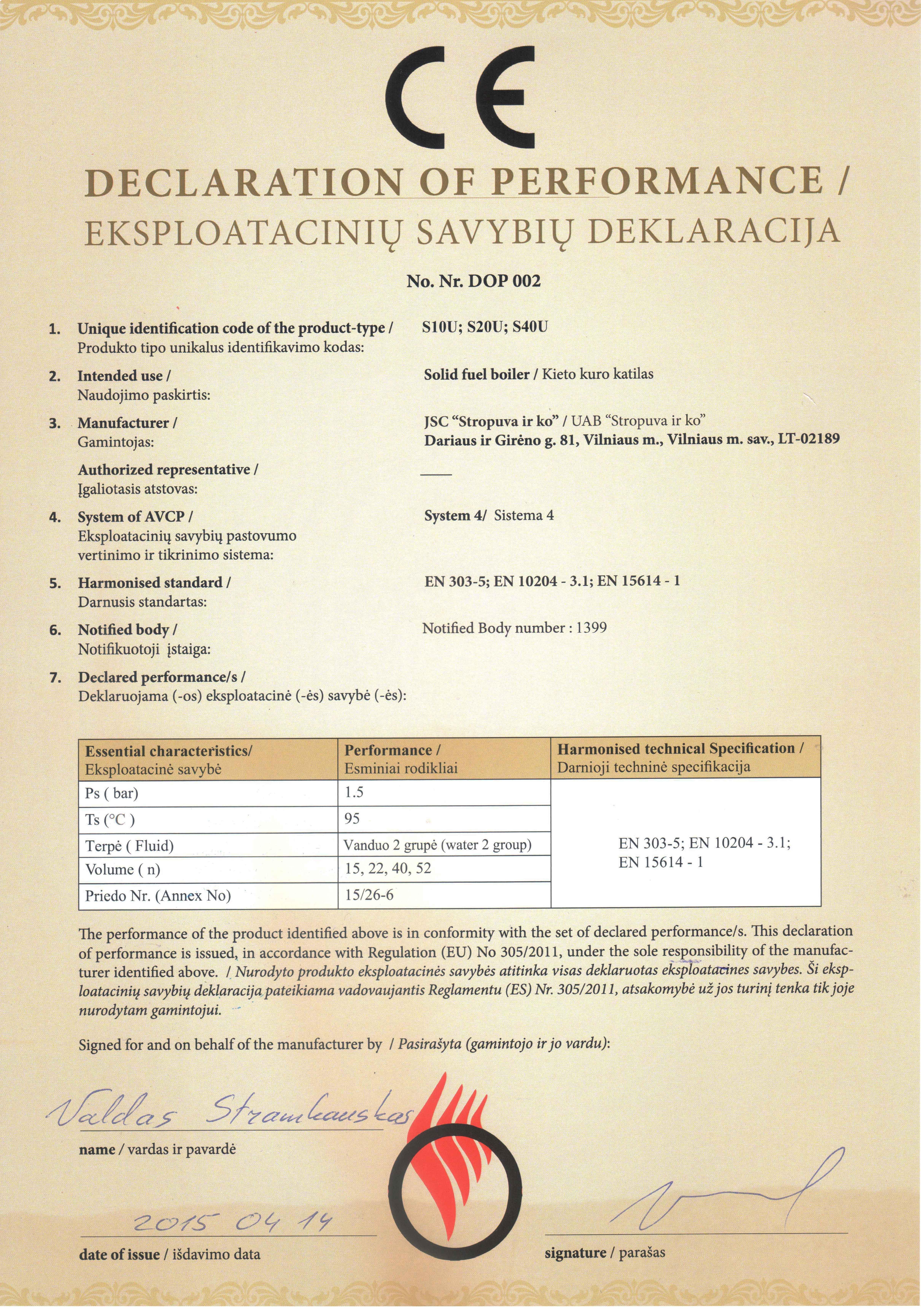 Eksplotaciniu savybiu deklaracija universalus katilai1